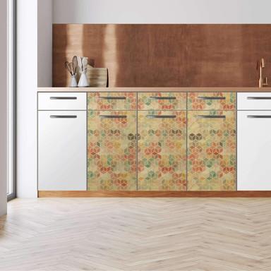 Küchenfolie - Unterschrank 120cm Breite - 3D Retro Pattern
