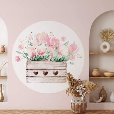Wandtattoo Kvilis - Frühlingsgruss mit Tulpen - Rund - Bild 1