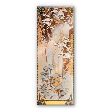Acrylglasbild Mucha - Jahreszeiten: Der Winter 1900