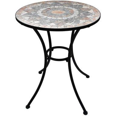 Gartentisch mit schönem Stein-Mosaik Muster, 60cm Durchmesser robust, Innen- und Aussen, Winterfest - Bild 1