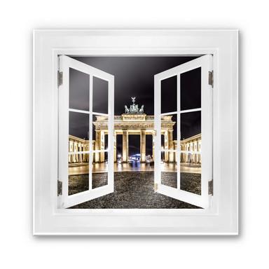 Glasbild 3D Fenster quadratisch - Brandenburger Tor - 50x50cm - Bild 1