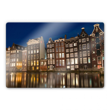 Glasbild Amsterdam am Kanal