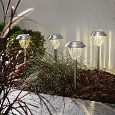 LED Solar Erdspiessleuchte Palma, 4-er Set, Edelstahl, 280mm