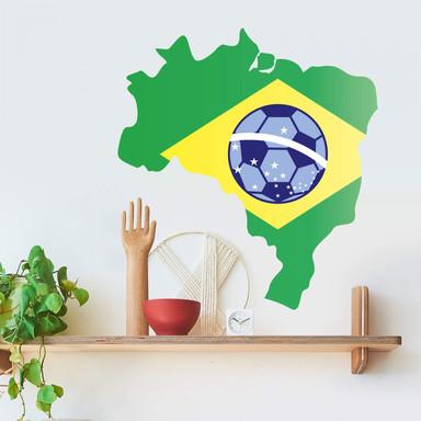 Wandsticker Brasilien Karte mit Fussball