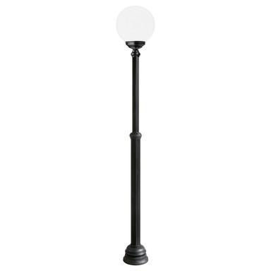 Wegeleuchte Schwarz, Aluguss, höhenverstellbar, Opal Acryglas, E27. IP43. 1380-2220x250mm