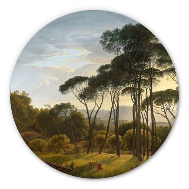 Alu-Dibond Voogd - Italienische Landschaft mit Schirmkiefern - Rund