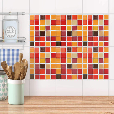 Fliesenaufkleber Set rechteckig - Mosaik Rot-Orange