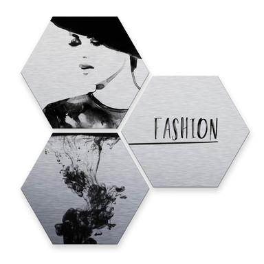 Hexagon - Alu-Dibond-Silbereffekt - Fashion Mode (3er Set)