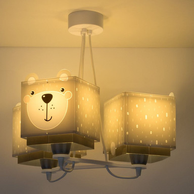 Kinderzimmer Pendelleuchte Little Teddy in Grau 3-flammig E27