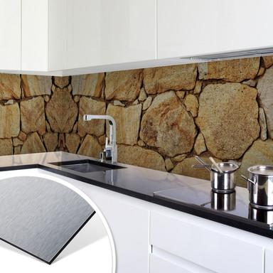 Küchenrückwand - Alu-Dibond-Silber - Mauer 03