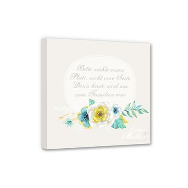 Leinwandbild Bitte wähle einen Platz - Aquarell Blüten & Wunschtext