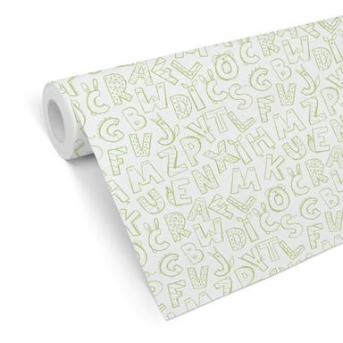 Mustertapete - Kinderalphabet - grün