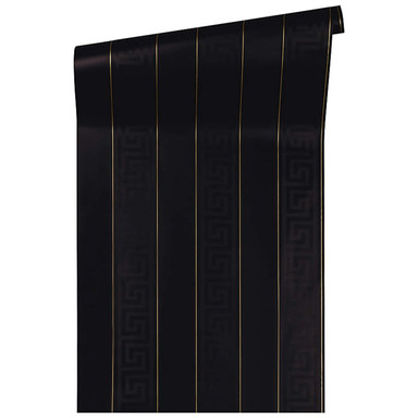 Mustertapeten Versace Wallpaper Tapete Greek Metallic, Schwarz