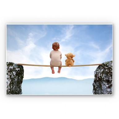 Wandbild Mit Teddy in den Bergen