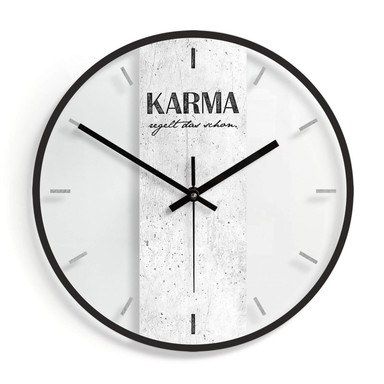 Wanduhr aus Glas - Karma regelt das schon Ø30cm