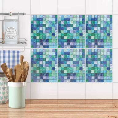 Fliesenaufkleber Set rechteckig - Mosaik Grün-Blau