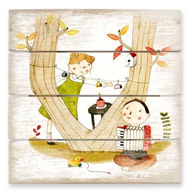 Holzbild Loske - Picknick