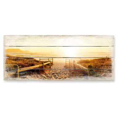 Holzbild Sunset at the Beach - Panorama