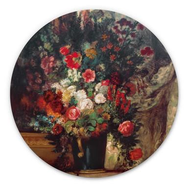 Alu-Dibond Delacroix - Vase mit Blumen auf einer Konsole - Rund