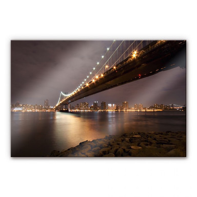 Arylglasbild Manhattan Bridge at Night