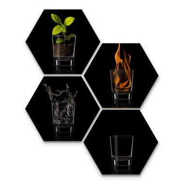Hexagon - Alu-Dibond-Silbereffekt - Frutos Vargas - The Four Elements (4er Set)