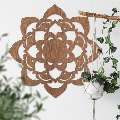 Holzdeko Mahagoni - Mandala Lotus