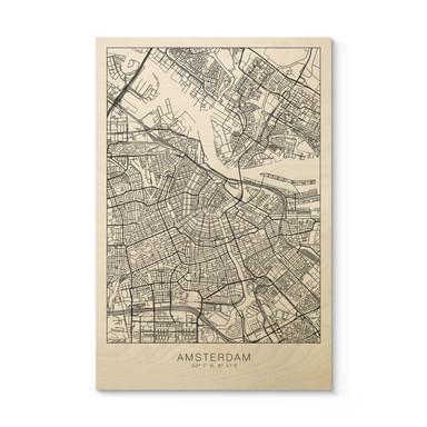 Holzposter Stadtplan Amsterdam