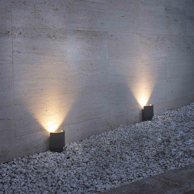 LED Fassadenstrahler Noboru aus Aluminium in Dunkelgrau 3000K