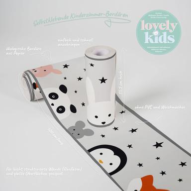 Lovely Kids selbstklebende Kinderzimmer Bordüre Wild Stars mit niedlichen Tieren