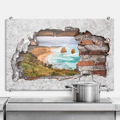 Spritzschutz 3D Optik - Cliff Rocks