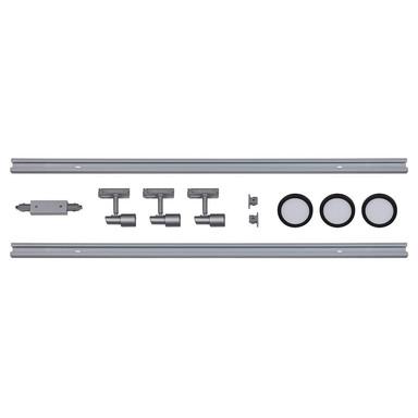 famlights | 1-Phasen Schienensystem-Set in Silber und Schwarz 2 Meter inkl. 3 Spots inkl. Leuchtmittel