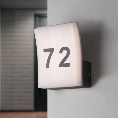 famlights   LED Hausnummernleuchte Ida in Anthrazit und Weiss 12W 996lm IP65