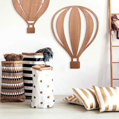 Holzdeko Mahagoni - Heissluftballon mit senkrechten Linien