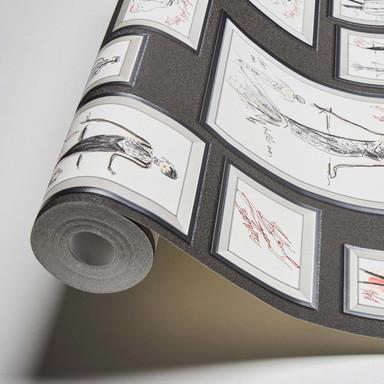 Karl Lagerfeld Wallpaper Vliestapete Sketch grau, rot, weiss