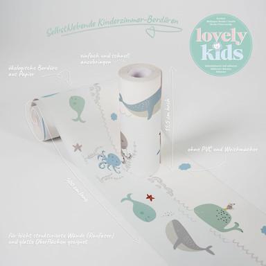 Lovely Kids selbstklebende Kinderzimmer Bordüre Ocean Party mit niedlichen Walen und Kraken