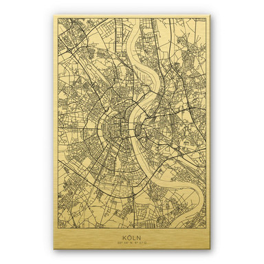 Alu-Dibond-Goldeffekt Stadtplan Köln