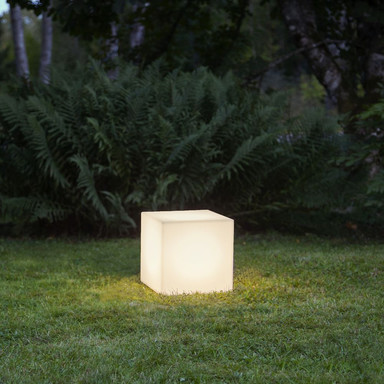 Dekorativer Gartenwürfel Gardenlight in Weiss 300 mm
