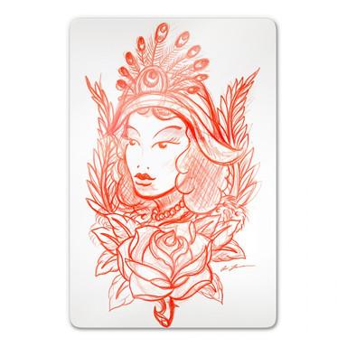 Glasbild Miami Ink Frau mit Pfauenfedern