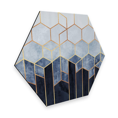Hexagon - Alu-Dibond Fredriksson - Hexagone: Blau und weiss