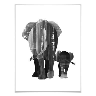 Poster Goed Blauw - Elefantenfamilie