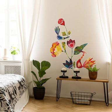 Wandtattoo Blanz - Blumen und Vögel