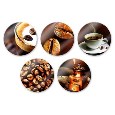 Glasbild Coffee Set (5-teilig) - rund