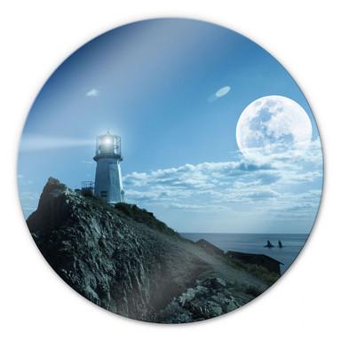 Glasbild Lighthouse - rund
