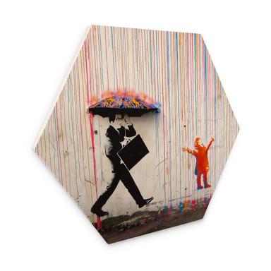Hexagon - Holz Banksy - Coloured Rain