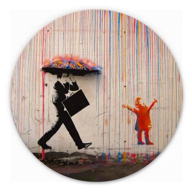 Holzbild Banksy - Coloured Rain - Rund