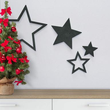MDF-Holzdeko Sternen-Set (4-teilig) - Bild 1