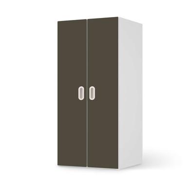 Möbelfolie IKEA Stuva / Fritids Schrank - 2 grosse Türen - Braungrau Dark