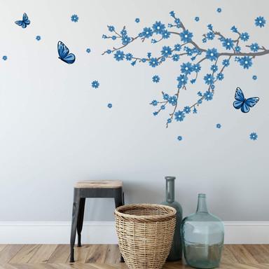 Wandsticker Eisblüten mit Schmetterlingen