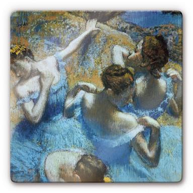 Glasbild Degas - Tänzerinnen in blauen Kostümen