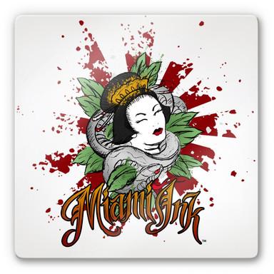 Glasbild Miami Ink Asiatin mit Schlange